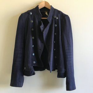 Free People Navy Jagger Double-breasted Jacket